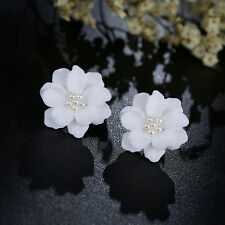Simulated Pearl Big White Rose Flower Stud Earrings Inlay Beads Jewelry Gift Hot