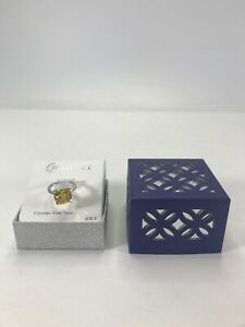 Brilliance Ring Crystals from Swarovski Silver Color Clear/Yellow Stones Size 6