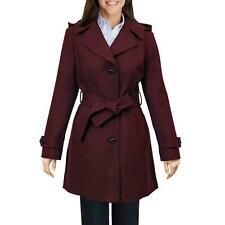 London Fog Women's Wool Blend Walker Coat Jacket Belted Hooded Burgundy M Medium
