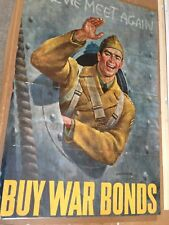 RARE  VINTAGE WWI PROPAGANDA POSTER, TILL WE MEET AGAIN BUY WAR BONDS