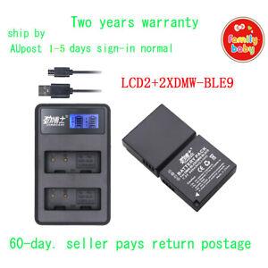 LCD2 +2x Battery for Panasonic DMW-BLE9 DMW-BLG10E Lumix DMC-GF3 DMC-LX100  AU