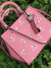 NWT Coach Bag Rogue Floral Bow Print Bright Pink Leather 26836