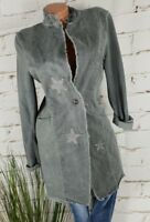 NEU ITALY VINTAGE TWO FACE LONG JACKET GEHROCK STARS NIETEN WASHED GREY XL 40-42
