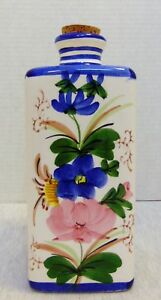 Vintage B.I.A. Ceramic Square Bottle Carafe w/Cork Stopper