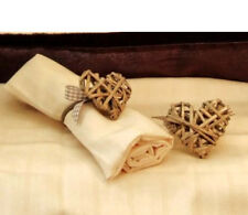 Set Of 4 Rustic Wicker Heart Napkin Rings with Brown & White Check Ribbon