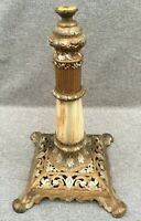 Antique french lamp base 19th century Empire style regule gold tone on marble