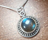 Round Labradorite with Silver Dot Accents 925 Sterling Silver Pendant