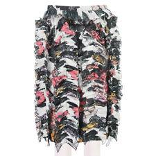 Dries Van Noten Black Pink Floral Frill Detailed Pencil Skirt FR40 UK12