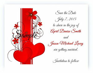 100 Personalized Custom Red Heart Swirl Bridal Wedding Save The Date Cards