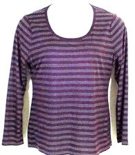 Ann Taylor Top Size Large Burgundy Silver Stripe Scoop Neck Long Sleeve Pullover