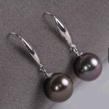 PERFECT ROUND 9-10MM BLACK RED SOUTH SEA PEARL DANGLE EARRING 14K WHITE GOLD
