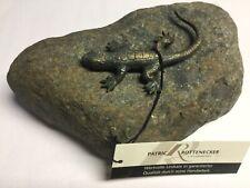 Bronzefigur Eidechse auf Flußkiesel Rottenecker Bronze Figur
