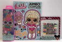 3 pc LOL Surprise Gift Set Jumbo Coloring Activity Book Crayons Watercolors Set