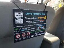 Uber and Lyft TIPS + 5 Star Rating Headrest Rideshare Sign (Stye1) (Set of 3)