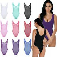 Women One Piece Swimwear Leotard Top  High Cut Thong Bodysuit Lingerie Nightwear