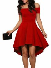 LOSRLY Womens Off Shoulder Semi Formal Short Evening Dress A Line Plus Size Red