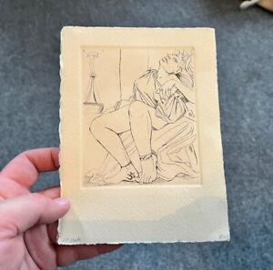 Vintage Engraving or Etching Print of Woman, Signed AEM
