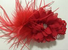 Handmade  Red Chiffon Flower and Ostrich Feather Baby Girls /Toddlers Headband