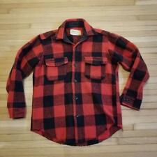 Vintage 1960's Melton Buffalo Plaid Flannel / Medium / Wool / Lumberjack Hipster