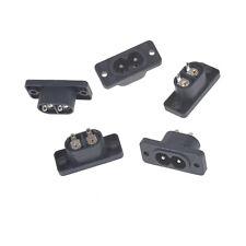 5Pcs IEC320 C8 2 Terminal Power Plug Inlet Socket AC 250V 2.5A Black ST LY