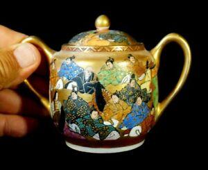 Stunning Satsuma Antique Japanese Hand Painted Eggshell Porcelain Sugar Bowl