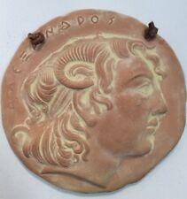 "Clay Ceramic Greek Medallion 6"" Round Decorative Wall Art FoundArtShop.com"