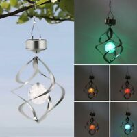 Outdoor Hanging Spiral Garden Light Solar Wind Spinner With Color Changing Ball