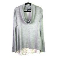 White House Black Market Sz L Sweater Shirt Top Blouse Cowl Neck Tank