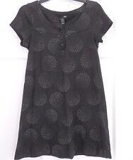 H & M Dress size 8 Black with Gray Print Cotton Knit  A-line excellent