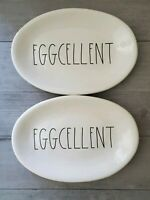 NEW (2) Rae Dunn by Magenta EGGCELENT Oval Appetizer Plate Easter Home Decor