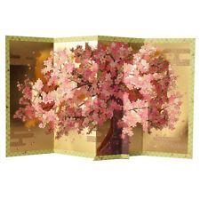 Cherry Blossom w/ Gold Folding Screen Pop Up Decorative Greeting Card