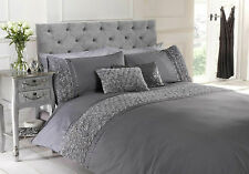 Grey King Size Duvet Quilt Cover Bedset Bedding Raised Rose and Ribbon