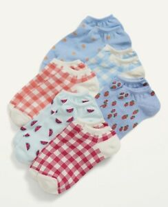 Old Navy Womens Ankle Socks ~ 6 Pack ~ Plaid Strawberry Watermelon Blue ~ NWT