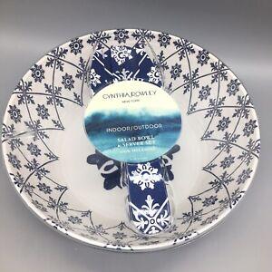 3pc Cynthia Rowley Melamine Serving Salad Bowl Server Set Medallion Navy White