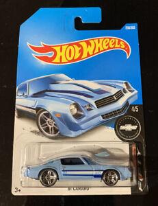 Hot Wheels 2017 '81 Camaro Light Blue #250 Camaro Fifty Long Card