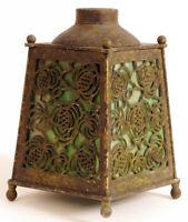 ANTIQUE GREEN SLAG GLASS KEROSENE DESK LAMP BRASS PAINTED ARTS AND CRAFTS RARE !