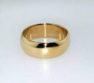 Solid 14K Yellow Gold Classic Domed Plain Wedding Band Ring Size 9 Heavy