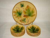 Zell Georg Schmider Hand Painted Majolica 12-Piece Maple Leaves Dessert Set