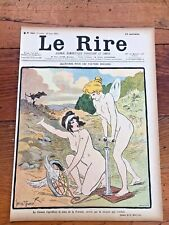 le rire - colour title print from 1901 . risque ladys pumping up a tyre !