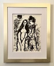 "Marc Chagall 1963 Original Lithograph ""Clown In Love"" Framed"