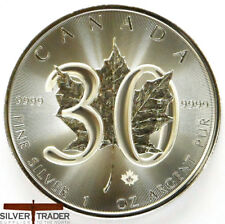 2018 Canadian 30th Anniversary Maple Leaf 1oz Silver Bullion Coin unc: