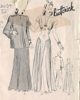 "1940s Vintage Sewing Pattern B38"" DRESS & JACKET (170)"