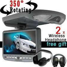"Black 9"" FLIP DOWN OVERHEAD CAR CD DVD MP3 PLAYER Drop Down Monitor +Headsets"