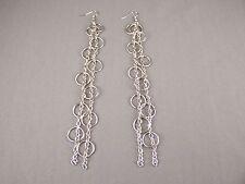 "Silver tone lightweight dangle metal 2 chains circle loops 6"" long earrings"