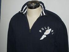 VTG Polo Ralph Lauren Spell Out P WING Pullover sweatshirt Zip Rare Blue sport