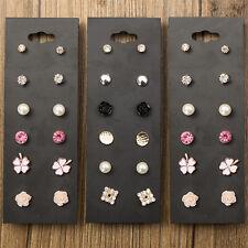 6 Pairs Women Charm Flower Ear Stud Crystal Pearl Rhinestone Earrings Set Pop
