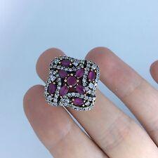 Handmade Ottoman Turkish Arabic 925 silver ruby topaz high quality ring size 8