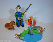 Edible Fishing Fisherman with Dog sugar paste decoration cake topper birthday