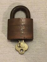 Vintage EAGLE Brass Padlock Lock with Key WORKING Made in the USA