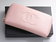 H3925M Authentic CHANEL Caviar Skin Zip-Around Long Wallet